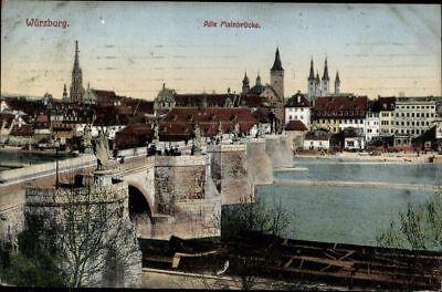 Ansichtskarte Pk Würzburg Alte Mainbrücke Künstlerkarte Stadtansicht Gelauf 1912