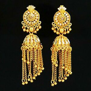 Jhumka Earrings Jewelry 18K Gold Plated Long Chandelier Bollywood ...