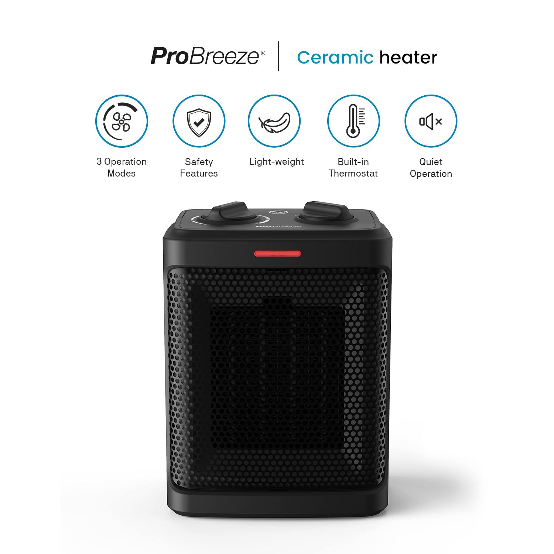 Image 2 - Pro Breeze® 1500W Mini Ceramic Space Heater Mini Heater Fan Heater Black