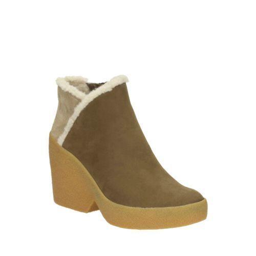 Clarks Tavan Alba Khaki Combi Leather Womens Boots Size UK 4 1 2D