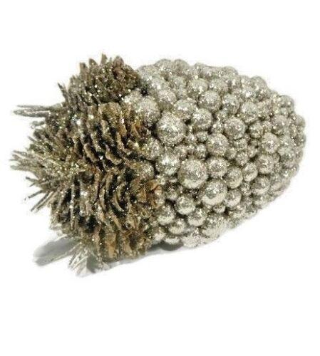 Pier 1 Decorative Sphere Glitter Acorn Pewter Pinecone Fall Winter Christmas New