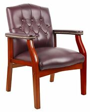 Boss Office B959-BY Traditional Oxblood Vinyl Guest Chair W- Mahogany Finish New