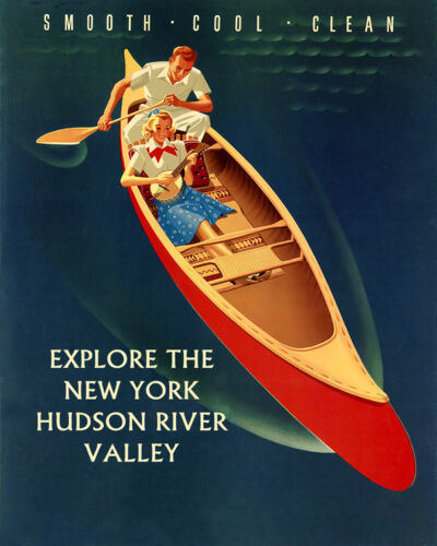 New York Hudson River Couple Canoe Explore Valley 16X20 Vintage Poster FREE S//H