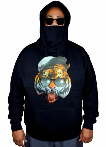 Men/'s Flesh Cool Tiger Mask Hoodie Glasses Hat Funny Humor Beast Sweater Jacket