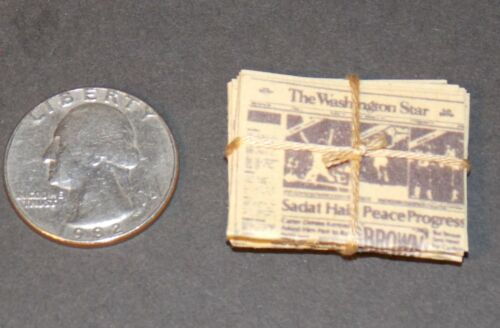 Dollhouse Miniature Vintage Newspaper Stack 1:12 Inch scale J98 Dollys Gallery