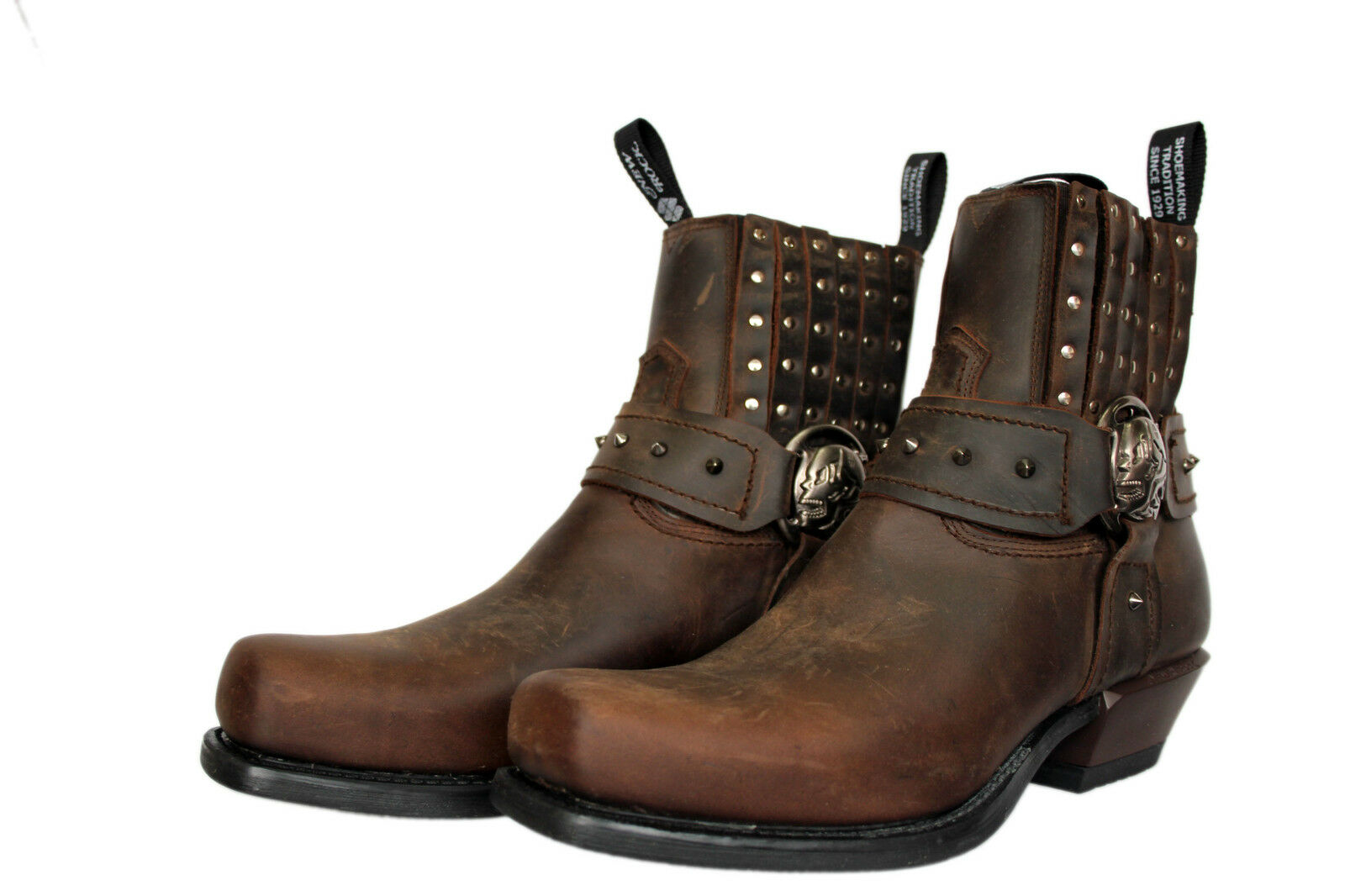 Newrock New Rock M.7959 Brown Scarpe In Pelle Tinta Unita West Marrone Tacco Caviglia Scarpe Brown Cowboy f42d42