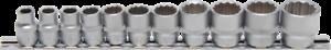 """Steckschlüssel-Einsatz-Satz Zwölfkant Innenvierkant 10mm 3//8/"""" Zollgrößen 11-tlg"""