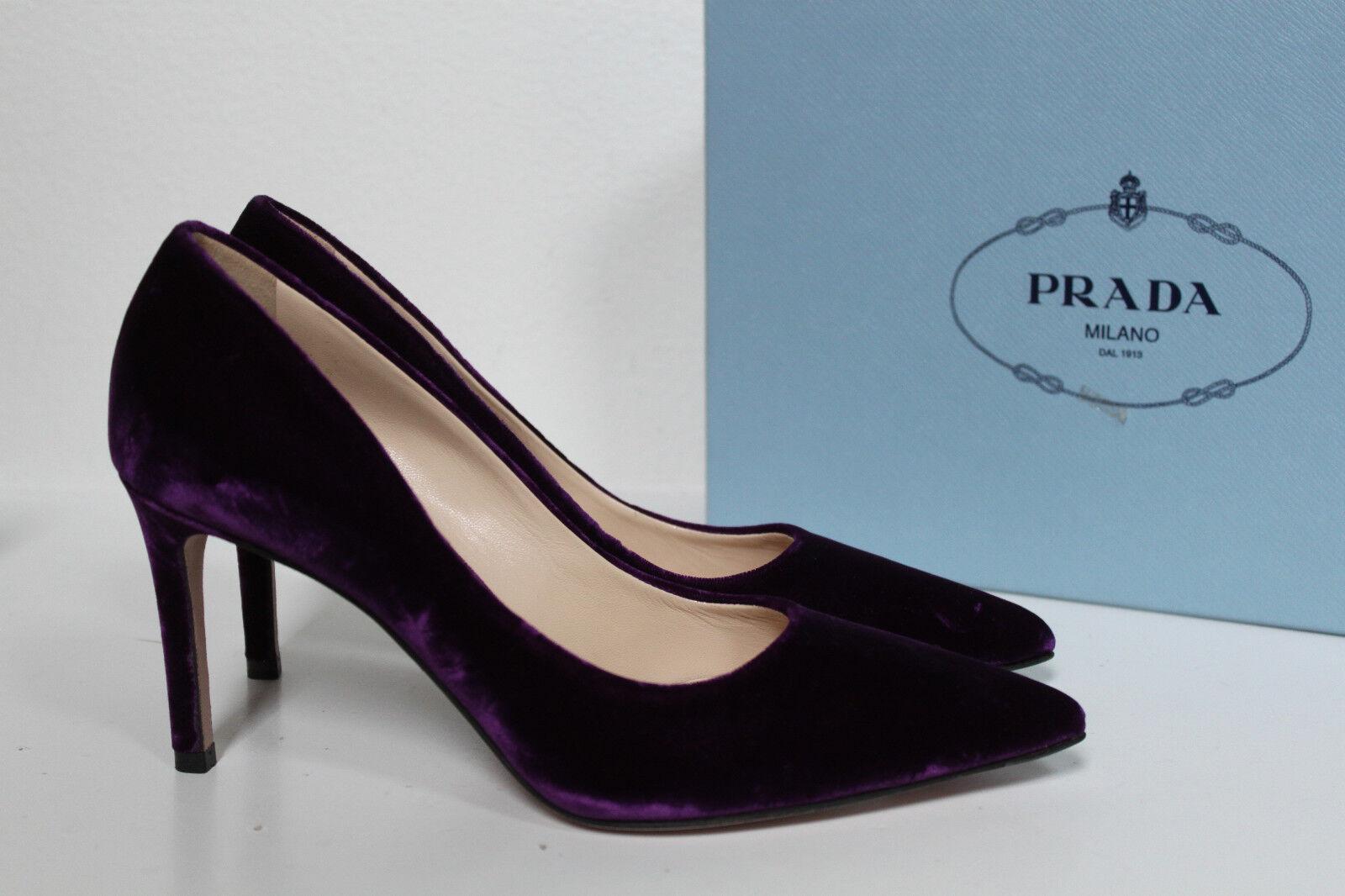 New sz 7   37.5 Prada lila Velvet Pointy Toe Classic Pump Heel schuhe
