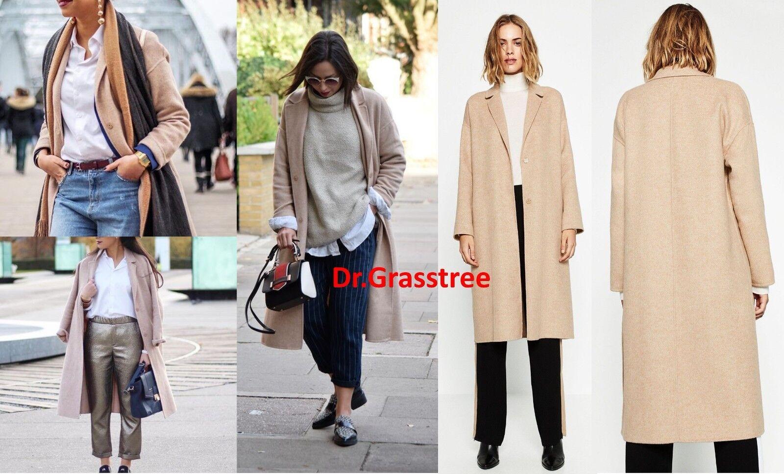 BNWT Zara Women HAND MADE WOOL LONG COAT Blogger Favorite 4070 222 sz M Rare