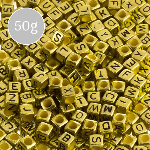 K33//3 50g Gold 6mm Mix Alphabet Letter Beads Acrylic Cubes