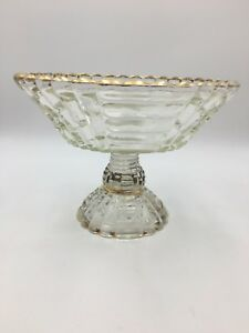 Details About Vintage Clear Gl Pedestal Bowl With Gold Trim