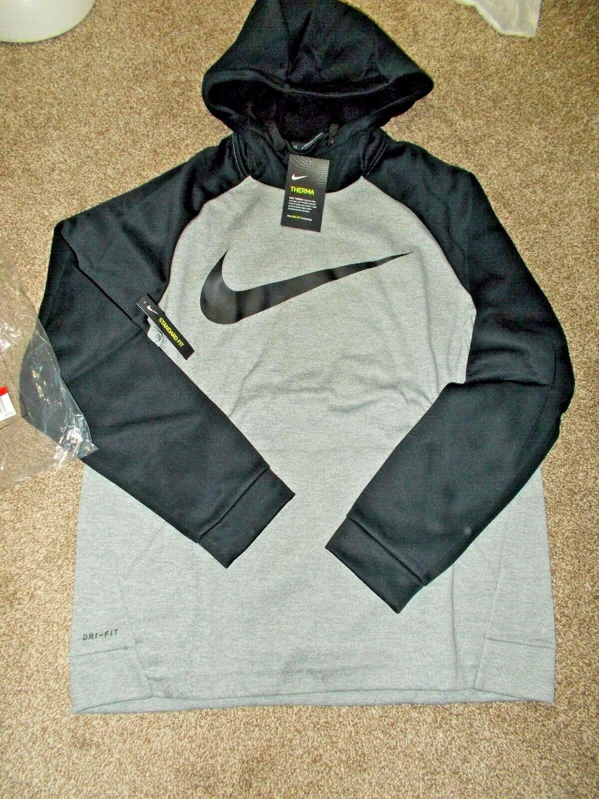 NEW Men/'s Size L NIKE Sweatshirt Hoodie Warm Therma Gray Black MSRP $55 NWT