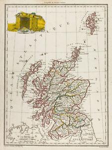 """1812 - Carte ancienne Écosse. Malte-Brun Lapie. Antique map of Scotland - France - Commentaires du vendeur : """"Cette carte est rare ! Gravure sur acier. Dimensions : 26cm x 35cm. Carte ayant du vécu, dans le bon sens du terme, car ce vécu lui donne un cachet unique. Globalement les marges et bords de la feuille présentent u - France"""