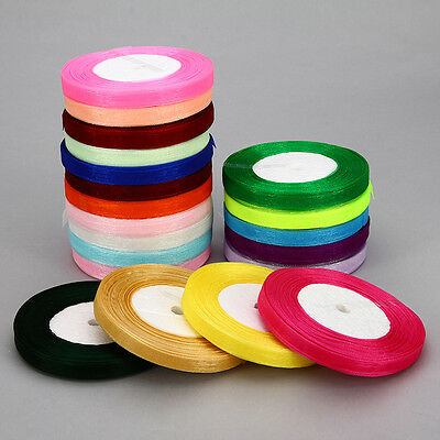 """New 50 Yards 3/8""""10mm Satin Edge Sheer Organza Ribbon Bow Craft Wedding 20 color"""