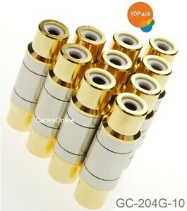 10-Pack RCA Female to Female Metal Body Gold Plated Coupler, GC-204G-10