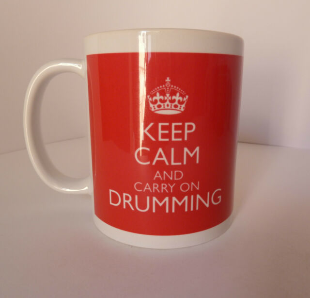 New Keep Calm and Carry On Drumming Gift Present Mug Cup Retro Britannia Drummer