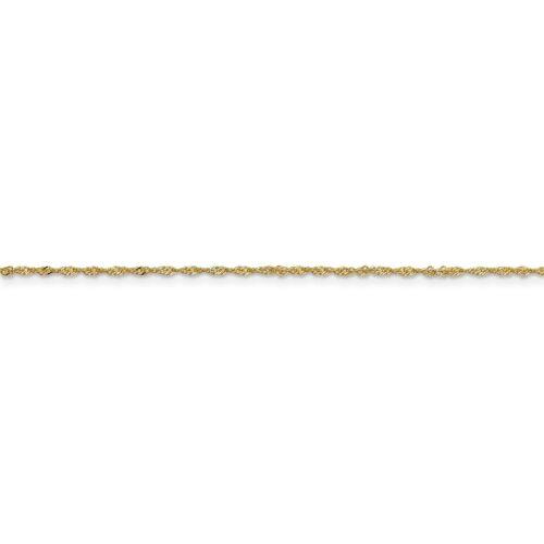 """30/"""" 14k or Jaune 1.10 mm Diamant Coupe Singapour Chaîne avec Anneau à Ressort 14/"""""""