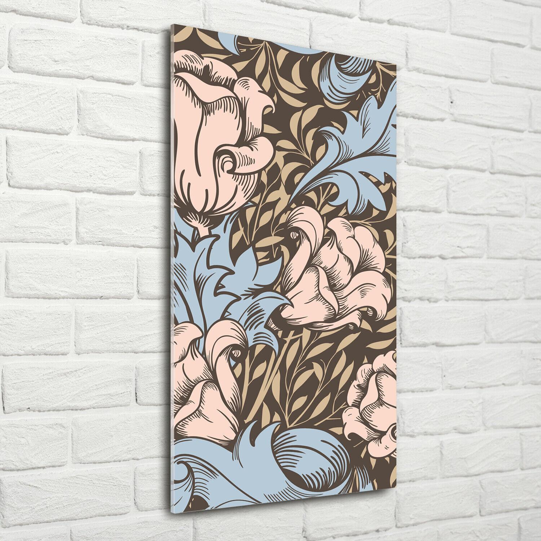 Wand-Bild Kunstdruck aus Acryl-Glas Hochformat 70x140 Blaumen und Blätter
