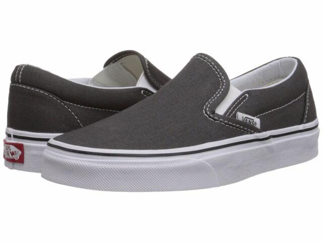 cbc743fb7a69 Men s Vans Classic Slip on Charcoal Fashion Sneakers Canvas Shoes  VN-0EYECHR NIB