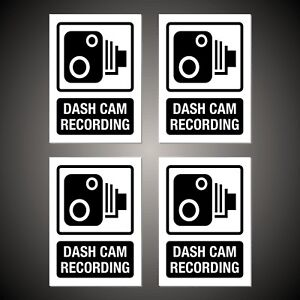 4-Dash-Cam-Recording-WINDOW-STICKERS-signs-decals-50mm-x-70mm-Free-P-amp-P