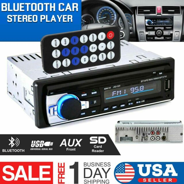 Bluetooth Car Stereo Audio 1 DIN In-Dash FM Aux Input Receiver SD USB Radio New