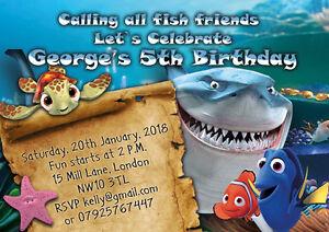 Detalles De 10 X Personalizado Invitaciones Fiesta De Cumpleaños O Tarjetas De Agradecimiento Finding Nemo Ver Título Original