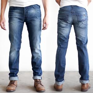 Nudie-Herren-Slim-Fit-Stretch-Jeans-Hose-Thin-Finn-Organic-Strikey-Blau