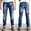 Nudie-Herren-Slim-Fit-Stretch-Jeans-Hose-Thin-Finn-Organic-Strikey-Blau Indexbild 1