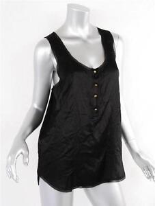 b5ae4b8420c351 Image is loading DIANE-VON-FURSTENBERG-Womens-Black-Satin-Sleeveless-Shirt-