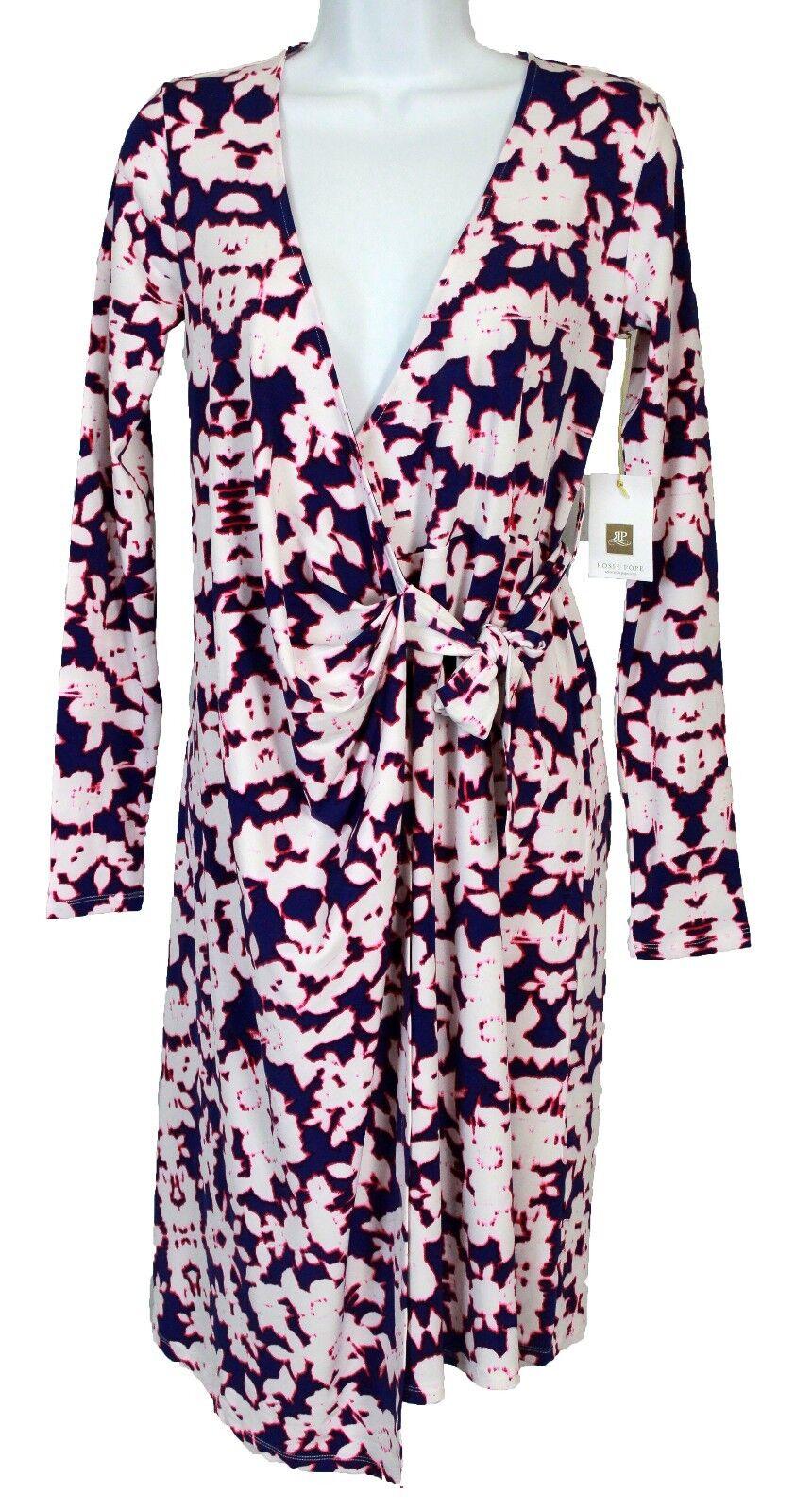 Rosie Pope Women's Maternity Wrap Long Sleeved Knee Length Dress, Deep Iris, XS