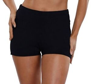 Swimsuit-For-All-Chlorine-Resistant-Lycra-Swim-Boy-Shorts-Bottoms-BLACK-NWT-24-W