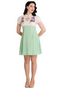 M-UK-12-ORIENTAL-FANS-GREEN-amp-WHITE-DRESS-JAPANESE-ANIME-LOLITA-EMBROIDERED