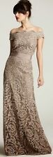 $408 Tadashi Shoji Womens Taupe Lace Scalloped Full-Length Formal Dress SIZE 14