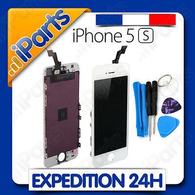 ECRAN LCD RETINA VITRE TACTILE SUR CHASSIS POUR IPHONE 5S BLANC + OUTILS
