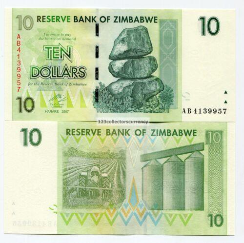 Zimbabwe 2007 10 Dollar UNC Banknote P67 Paper Money