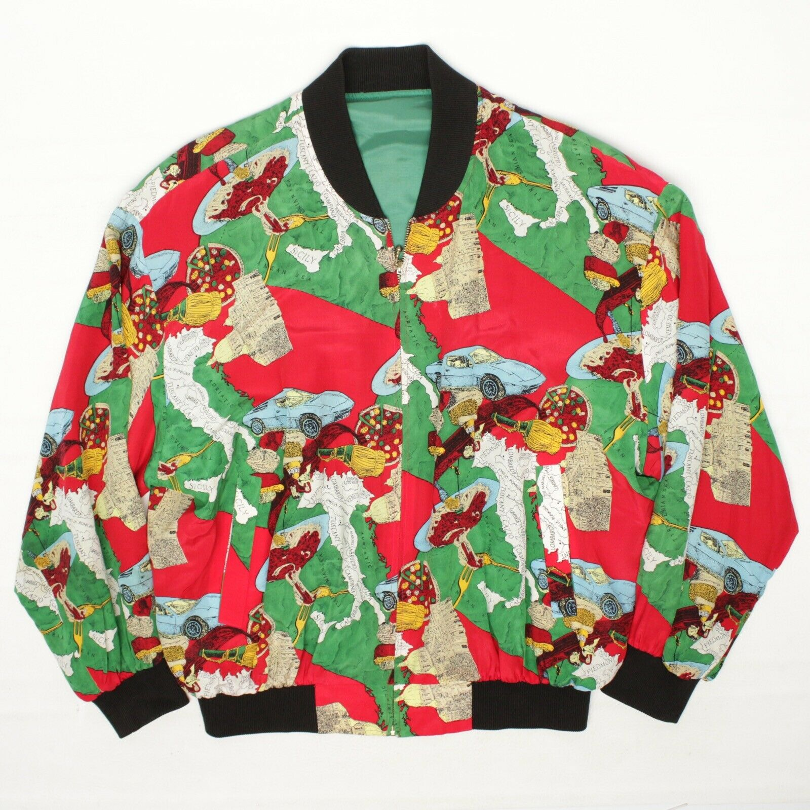 Silk Bomber Jacket L Red Green Italy Print Sports… - image 2