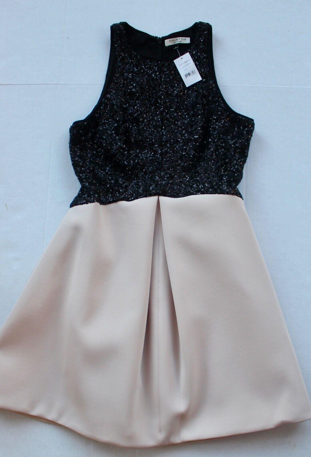 495 NWT  HALSTON HALSTON HALSTON HERITAGE  size 8  Two tone Sequin Fit & Flare Dress 127260