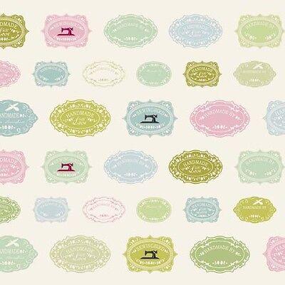 coupon de tissu patchwork TILDA Sewingbird Labels 45x50cm