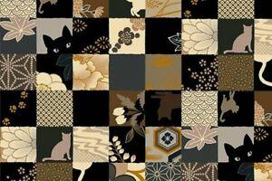 Quilt-Gate-Hyakka-Ryoran-Neko-Cat-Squares-Fabric-HR3110Y-13E-w-Gold-Metallic-BTY