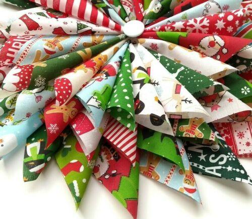"""Navidad Poly Tela De Algodón Patchwork Cuadrados en 4/"""" paquete de encanto 5/"""" 6/"""" /& 10/"""""""