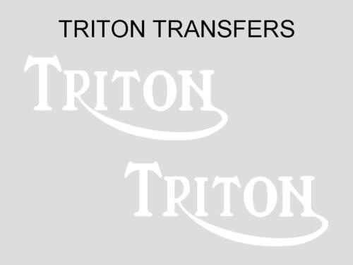Triton Tank Transfers Decals Motorcycle Pair Norton Triumph D500T3 White