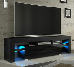 tv rack fernsehschrank lowboard sideboard hochglanz weiss schwarz mit led 130 ebay. Black Bedroom Furniture Sets. Home Design Ideas
