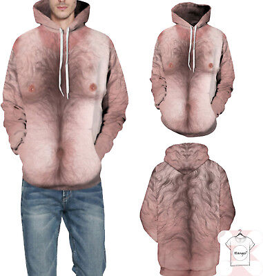 3XL New Funny Naked Body 3D Hairy Nipples Hoodies Size Men Women Fshion Size S