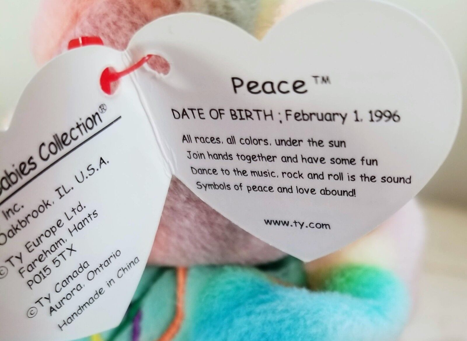 RARE Beanie Baby  Peace  Bear with All TAG TAG TAG ERRORS and P.V.C Pellets  1996 eef69d