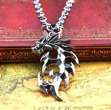 Fashion Men's Cool Fire Dragon Necklace Titanium Steel Pendant Necklace Chain DC