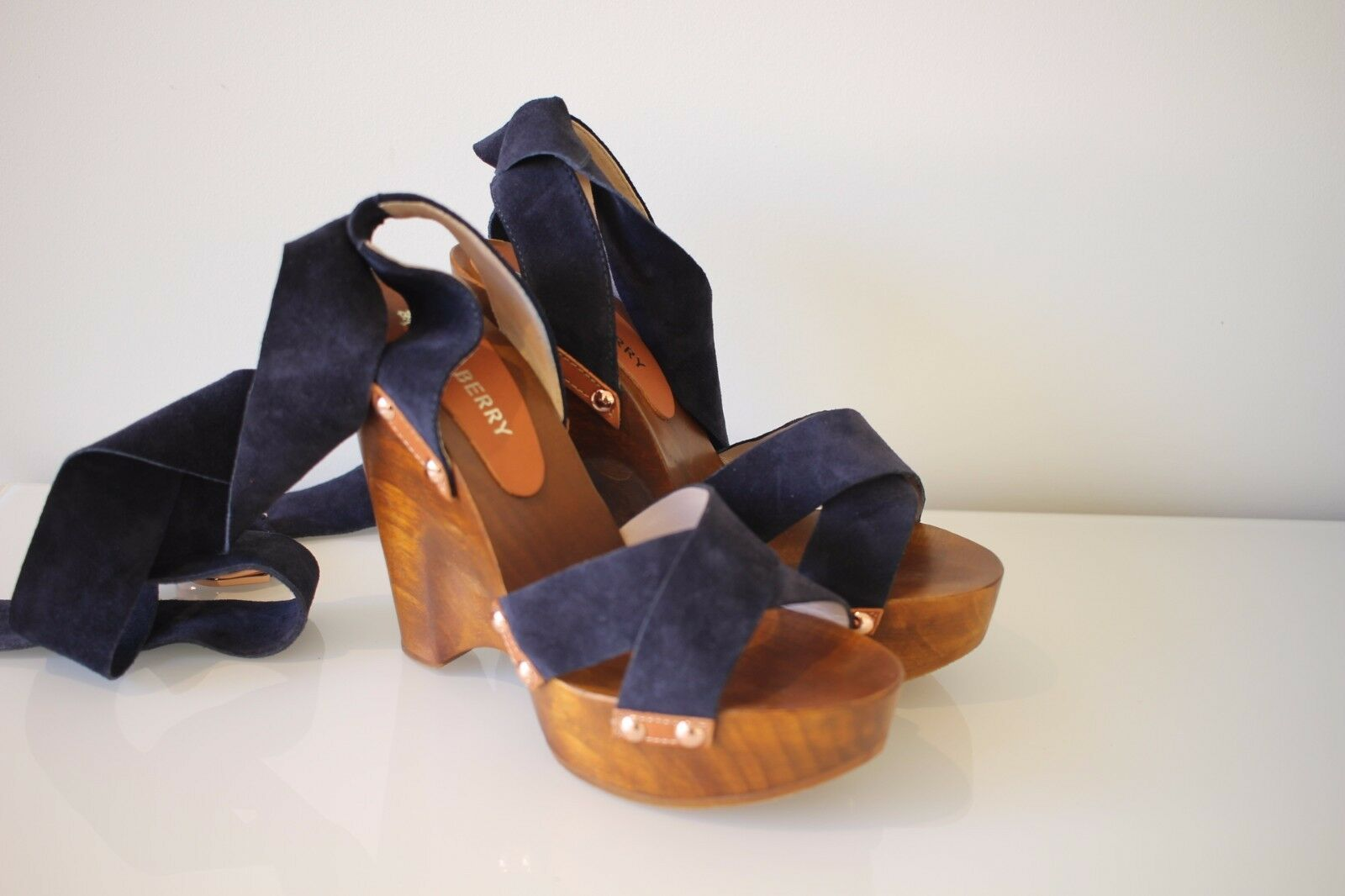 Mulberry  Midnight Größe Blau D Ring Wrap Wedges, Größe Midnight 38 NEW IN BOX 318b43