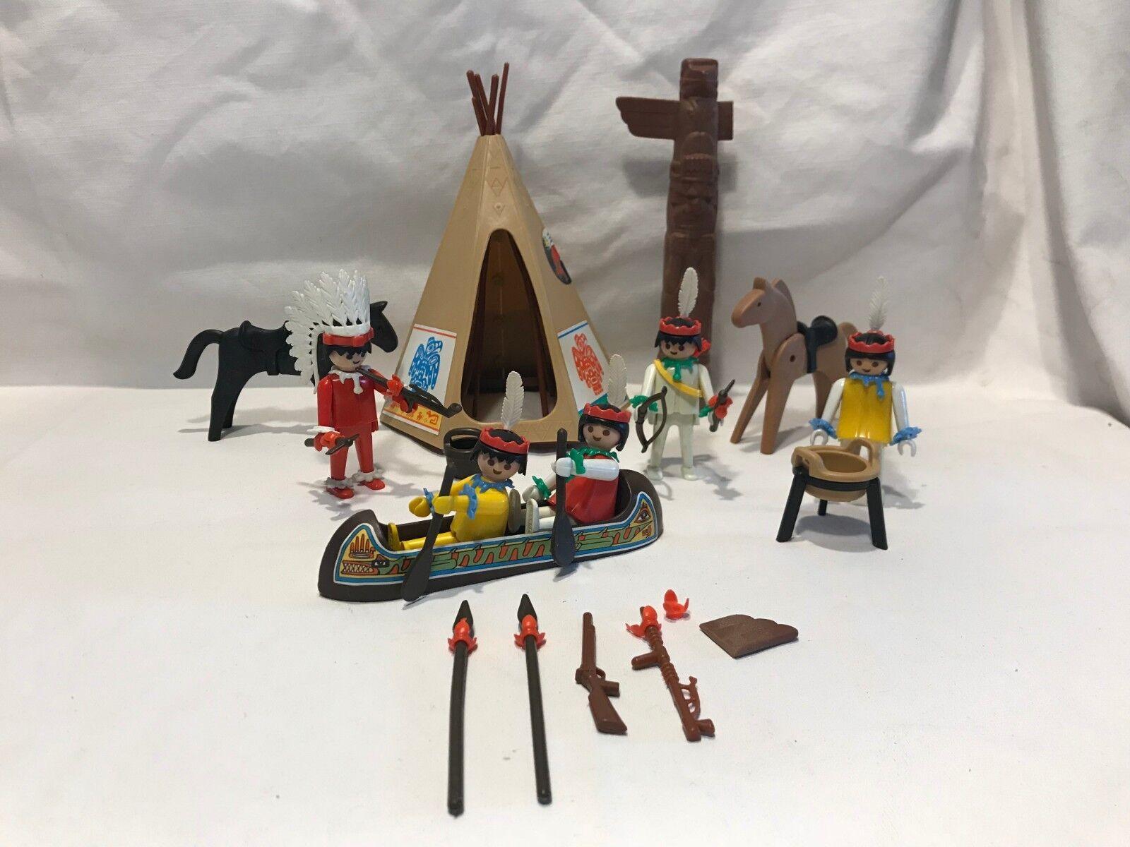 Vintage Playmobil Geobra 3483 Wild West Indians Tribal Teepee Totem Figures
