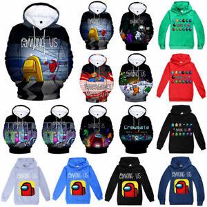 Game Among Us Kids Boy Girl 3D Child Hoodie Sweatshirt Pullover Jumper Tops