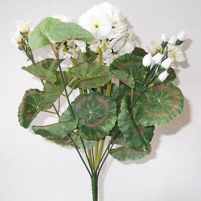 36cm Artificial Geranium Bush With White Flowers - Decorative Plastic Plant
