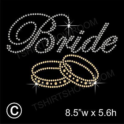 "/""Bride/"" Party Rhinestone Transfer Hotfix Iron on Motif Appliqué with a Free Gift"